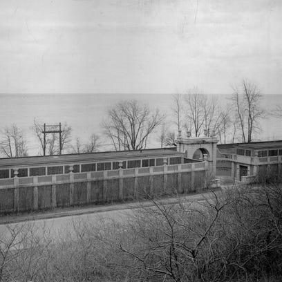 The bathhouse at Durand Eastman Beach is seen in this