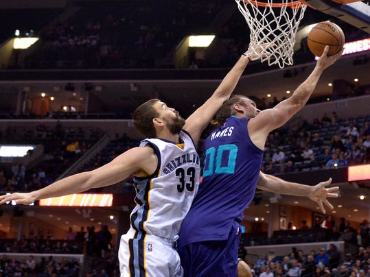 Charlotte Hornets forward Spencer Hawes (00) shoots against Memphis Grizzlies center Marc Gasol (33) in the first half of an NBA basketball game, Monday, Nov. 28, 2016, in Memphis, Tenn. (AP Photo/Brandon Dill)
