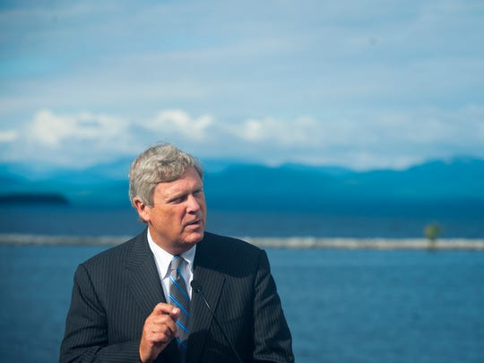 U.S. Secretary of Agriculture Tom Vilsack announces $45 million in funding to help Vermont combat water quality issues in Lake Champlain during a news conference at ECHO Lake Aquarium and Science Center Thursday morning.