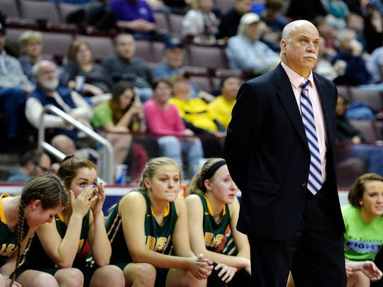 York Catholic coach Kevin Bankos and the Fighting Irish fell in the District 3 Class AA championship game, losing to Camp Hill, 54-40. The loss ended a run of 10 straight district titles for the Fighting Irish.