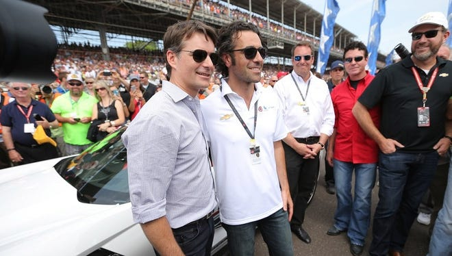 Pace car driver Jeff Gordon poses with three-time Indy 500 winner Dario Franchitti before Sunday's race.