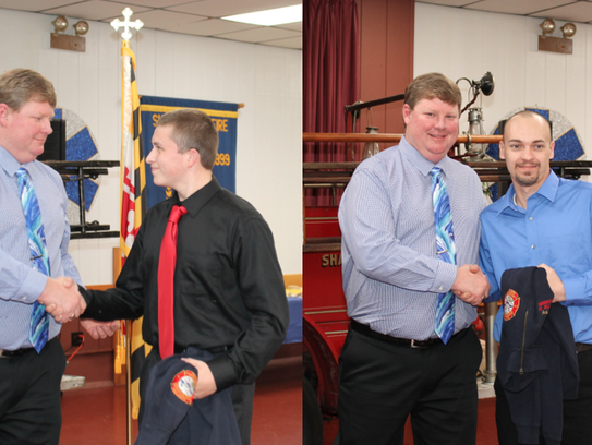Eric Gosnell (left) congratulates Lucas Donaway (right)