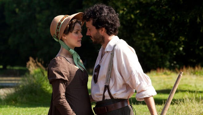 Keri Russell and Bret McKenzie star as two visitors to the immersive Jane Austen-themed resort in 'Austenland.'