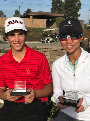 Camarillo residents Joey Zambri and Catherine Rao were the big winners at the VCJGA's Andria's Seafood Classic at Buenaventura Golf Course.