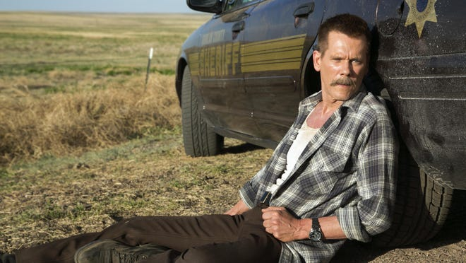 """""""Cop Car,"""" starring Kevin Bacon, crisscrosses back and forth between the thrilling escapades of two young boys and the downhill slide of a ruthless sheriff."""