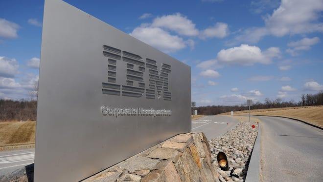 This March 20, 2009 file photo shows a sign at the entrance to IBM Corporate Headquarters in Armonk, New York.