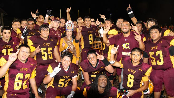 Cherokee's football team celebrates after Friday's win over Choctaw Central (Miss.).