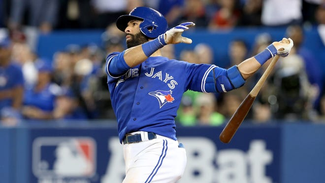Jose Bautista hits a three-run home run in the seventh inning to give the Blue Jays a 6-3 lead.