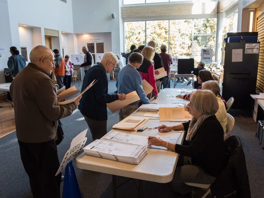 Voters gather at the Ward Museum of Wildfowl Art on Tuesday, Nov. 8, 2016.