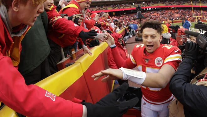Kansas City Chiefs quarterback Patrick Mahomes won't have nearly as many fans to celebrate touchdowns and victories with at Arrowhead Stadium during the 2020 season. The Chiefs announced plans to allow 22% capacity for home games with social distancing restrictions in place.
