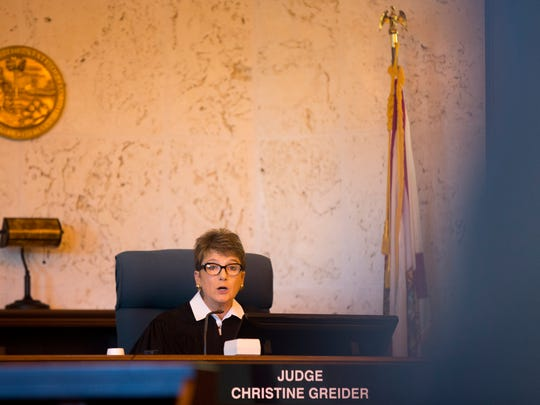 Collier Circuit Judge Christine Greider oversees the sentencing hearing Friday, Oct. 27, 2017, for Mesac Damas, who had pleaded guilty to murdering his wife, Guerline Dieu Damas, and their five children in September 2009 in their North Naples home. Greider sentenced Damas to death.