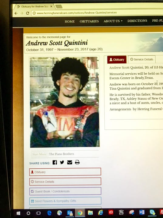 Andrew Scott Quintini, obituary page