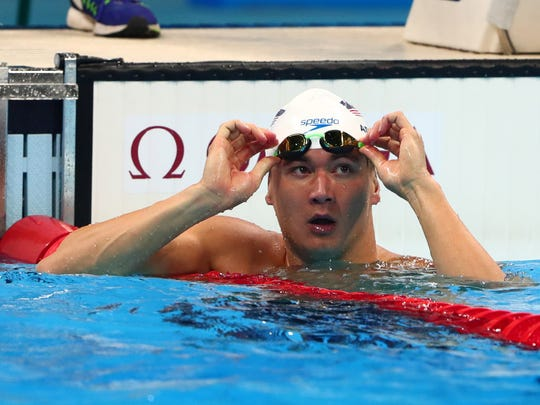 Nathan Adrian (USA) after the men's 100m freestyle heats in the Rio 2016 Summer Olympic Games at Olympic Aquatics Stadium.