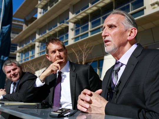 """Craig Coley, right, who spent 39 years in prison for a murder he didn't commit, talks with reporters Thursday in Sacramento. Coley says it was the """"worst nightmare"""" and even nearly $2 million in state compensation can't make up for his lost time. Coley was accompanied by his attorney's Ron Kaye, center, and Nick Brustin, left."""