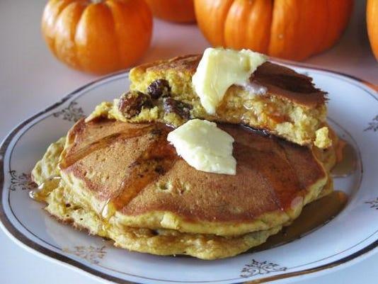 Rum raisin pumpkin pancakes. beekman1802.com