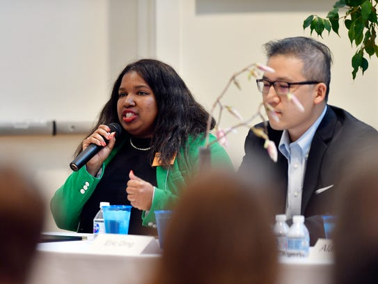 Shavonnia Corbin-Johnson speaks at a candidate forum on April 18, 2018, in York.