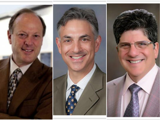 (From left to right) Doctors David Guzick, Mark Bleiweis and William Friedman who work at the University of Florida are among some of the top-earning state officials.