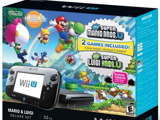 The Mario & Luigi Deluxe Wii U set includes a 32 GB system, 'New Super Mario Bros. U' and 'New Super Luigi U.'  32 GB Deluxe Wii U bundle i