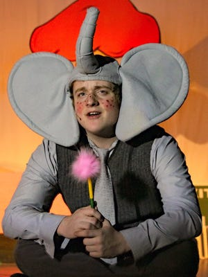 """Norris Glass as Horton the Elephant rehearses a scene from Buena Regional High School Drama Club's production of """"Seussical the Musical."""""""
