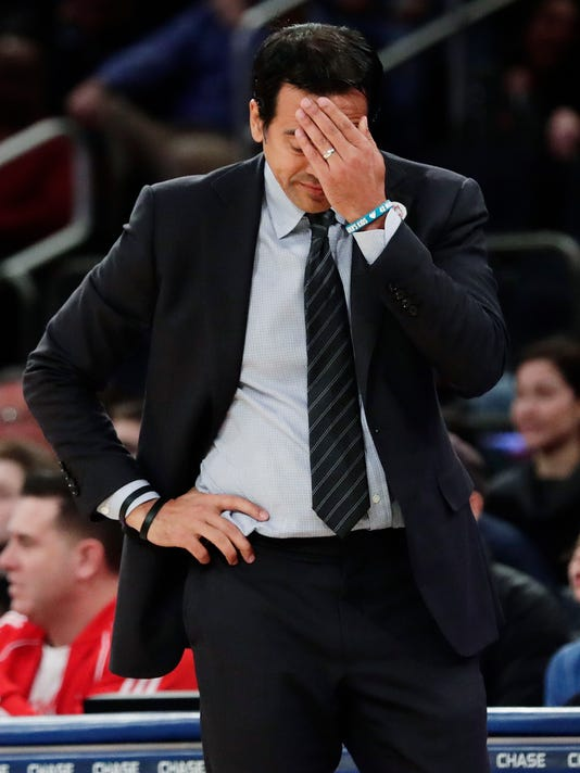 Miami Heat coach Erik Spoelstra reacts during the first half of the team's NBA basketball game against the New York Knicks on Friday, April 6, 2018, in New York. (AP Photo/Frank Franklin II)