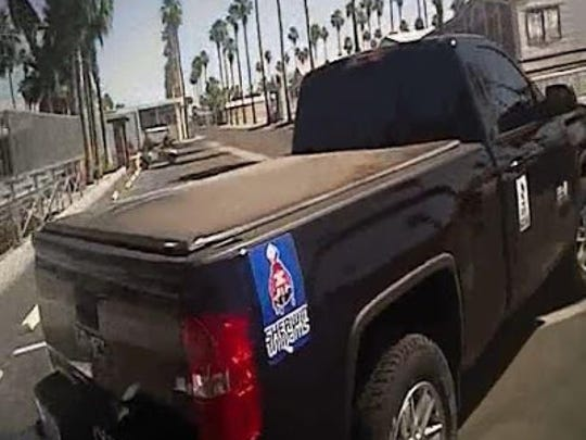 Mesa police said they believe William Donohue, who is suspected of burglarizinga home in a senior-living community, is driving a 2014 black GMC Sierra truck.