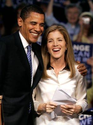 Democratic presidential candidate Barack Obama and Caroline Kennedy campaign in Scranton, Pa., in 2008.