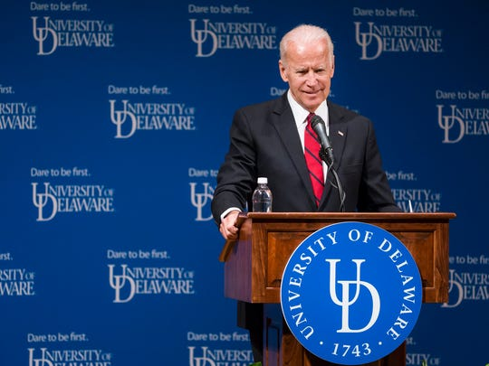 Former Vice President Joe Biden speaks during a ceremonial opening of the new Biden Institute at the University of Delaware's Roselle Center for the Arts in Newark on Monday afternoon.