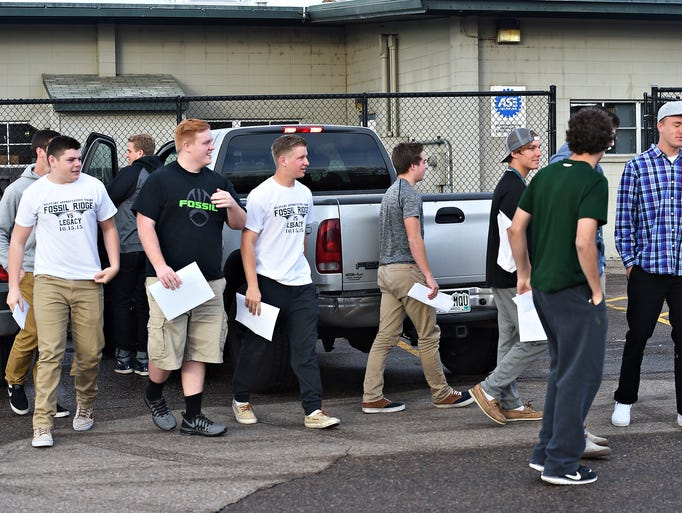Fossil Ridge football players showed up at the PSD