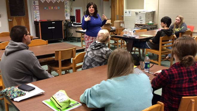 Author Liza Wiemer spoke to Sturgeon Bay students on Wednesday about character development.