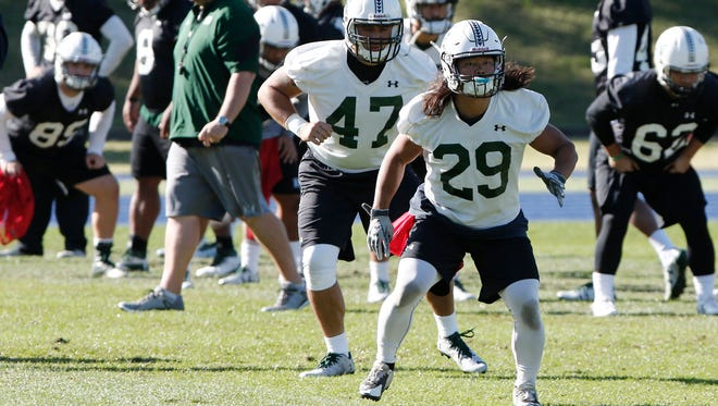 Hawaii Rainbow Warriors player Genta Ito of Japan, front, warms up during a training run at a field in Sydney, Australia on Friday. Cal is playing Hawaii in the first college football game of the 2016 season at the College Football Sydney Cup.
