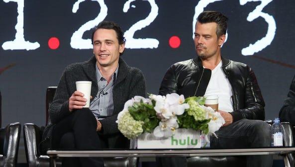 Actor James Franco and Josh Duhamel speak onstage during