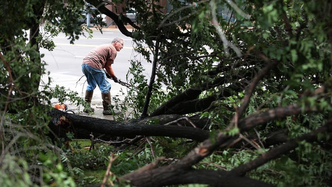 Ronnie McCarty with the Riverfront Development Corporation cuts up a downed a tree in Fourth Bluff Park on Front Street after a severe thunderstorm knocked down trees and knocked out power to most of Memphis Saturday night