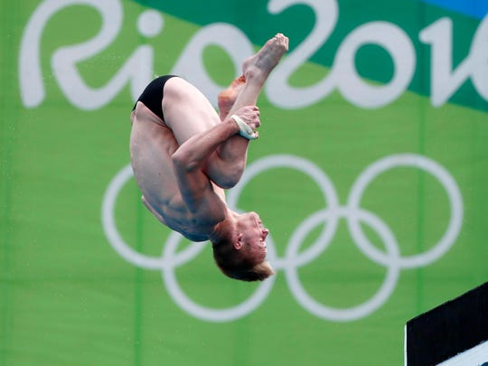 Steele Johnson competes in the men's 10m platform diving semifinal Saturday during the Rio 2016 Summer Olympic Games.