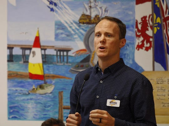 Candidate Jared Moore speaks at a Women for Responsible