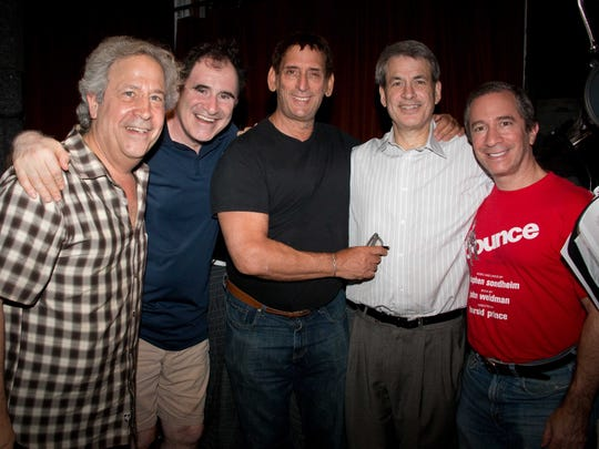 """Michael Colby of Metuchen provided lyrics and libretto for """"Tales of Tinseltown,"""" a musical set during the Golden Age of Hollywood. A CD version of the show was released earlier this year. Colby (second from right) is shown here during the recording sessions with (left to right) producer Jeffrey Lesser, actor Richard Kind, composer Paul Katz, and musical director Michael Lavine."""