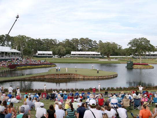 A general view of the 17th hole while Phil Mickelson