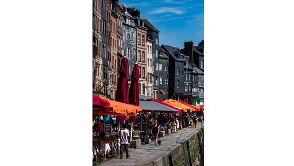 Dining along the marina in Honfleur.