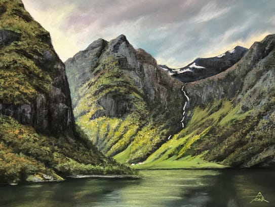 """""""Iceland: Fjord Waterfall,"""" pastel by Andrea McFarland."""