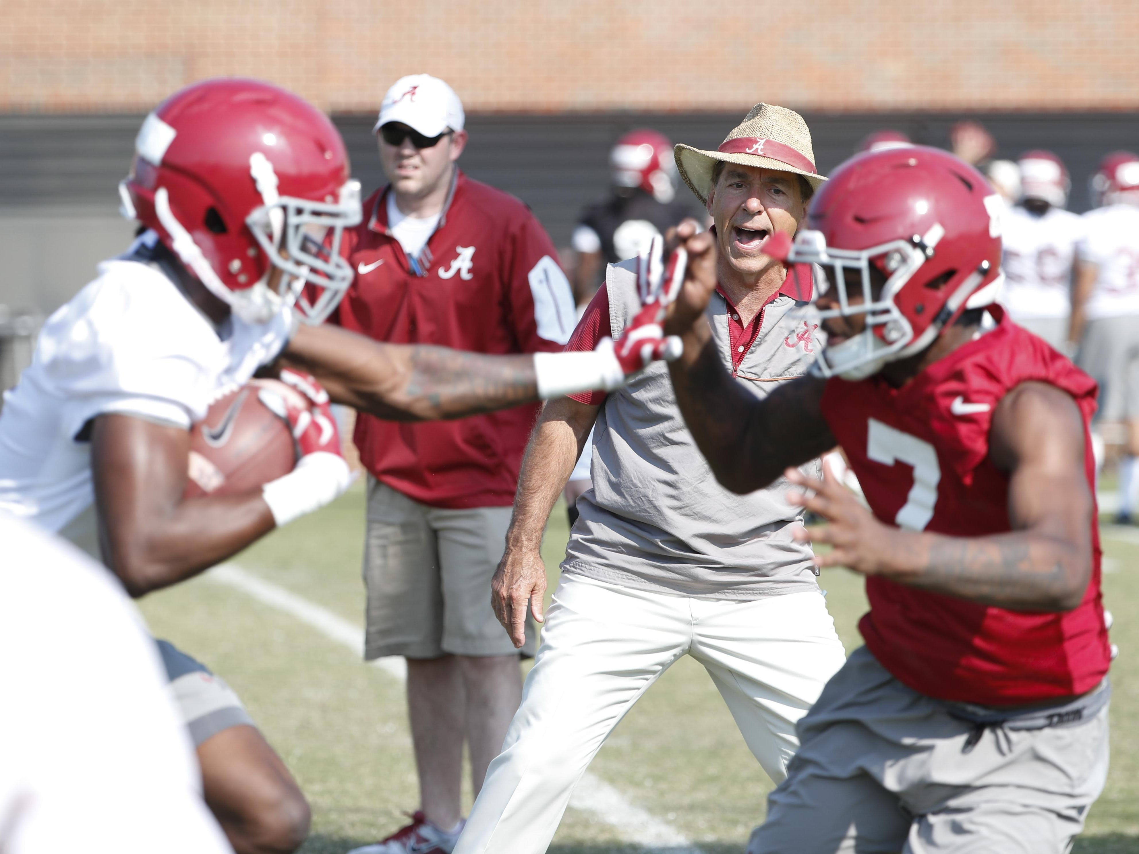 Alabama coach Nick Saban and the Crimson Tide go through their second spring practice Thursday.