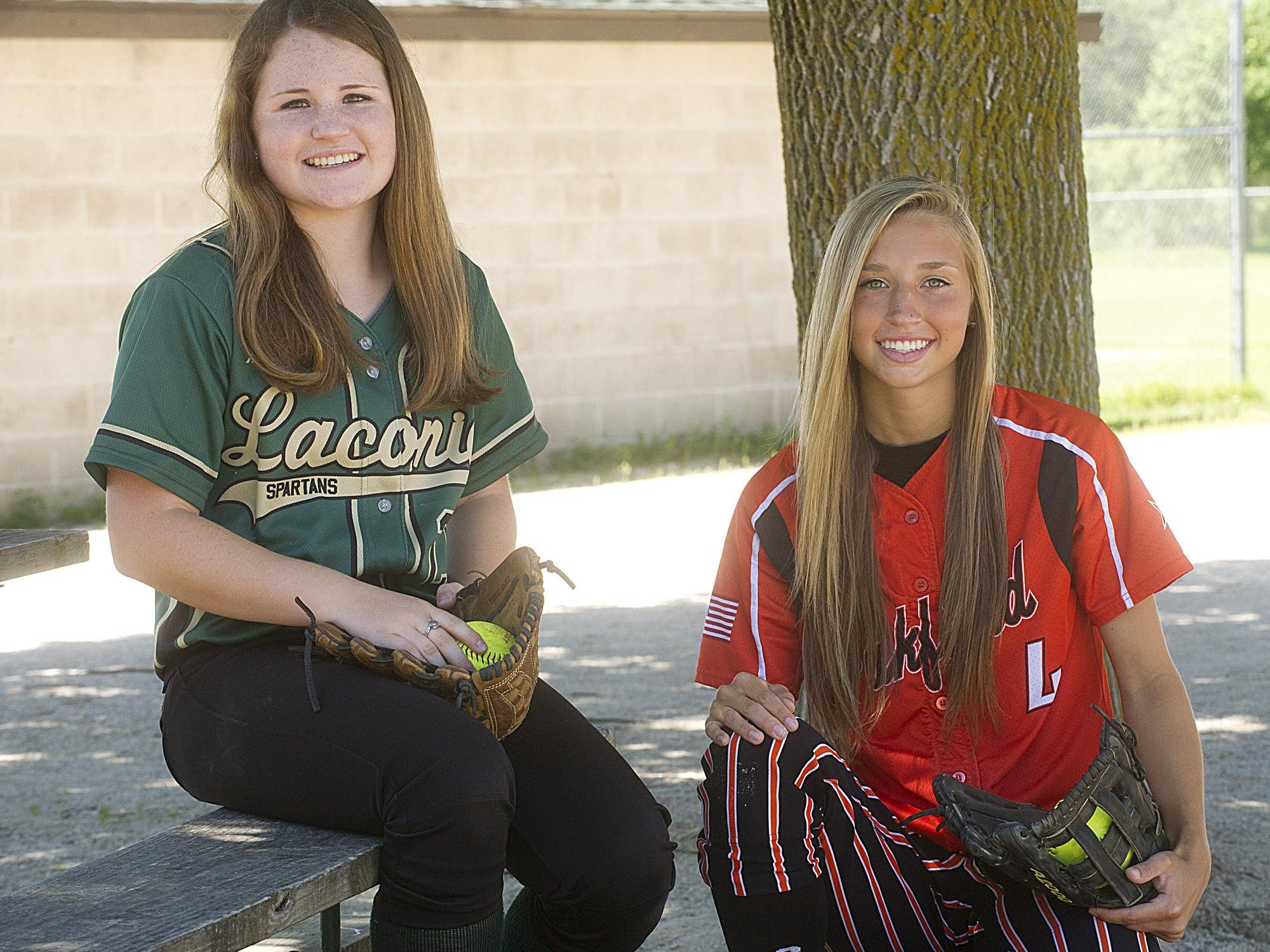 Laconia's Kayla Schwebke (left) and Oakfield's McKaela Ryan are the 2015 All-Area Softball Co-Players of the Year.