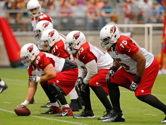 The Arizona Cardinals offensive line gets ready for the season during training camp in Glendale.