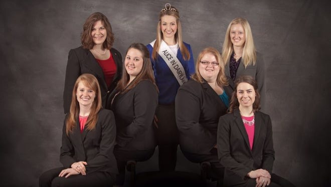 Teyanna Loether, top middle, the reigning Alice in Dairyland, is surrounded by the six finalists for this year's honor to represent Wisconsin as its agricultural ambassador. The candidates for the 69th Alice in Dairyland are, in front from left, Joanna Wavrunek of Denmark,Victoria Horstman of Sparta, Kristin Klossner of New Glarus and Ann O'Leary of Evansville; and in back, Emily Selner, left, of Denmark and Jenna Braun, right, of Mayville.