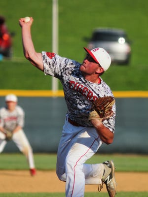 Beechwood junior Brayden Combs pitched the seventh inning to get the save April 18, 2015.