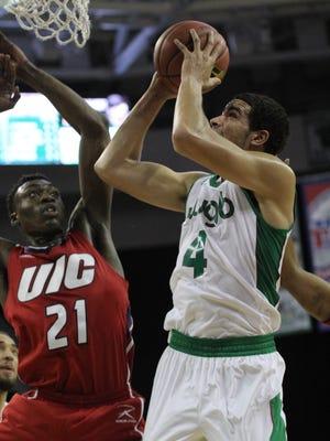 UWGB senior guard Jordan Fouse had 14 points and 15 rebounds against UIC.