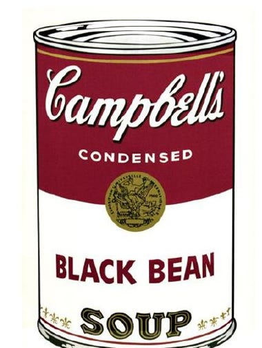 Campbell's Soup I (Black Bean), one of the paintings