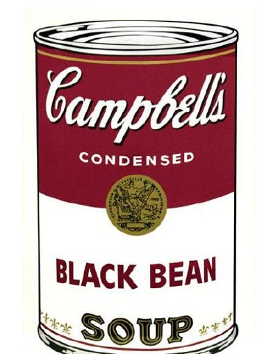Campbell's Soup I (Black Bean), one of the paintings stolen from the Springfield Art Museum