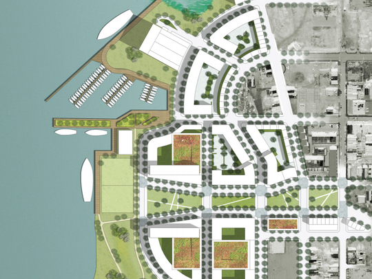 A conceptual drawing proposes future development for