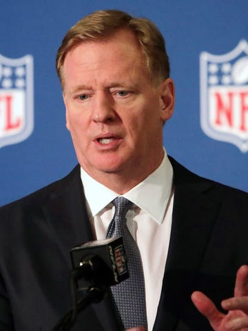 FILE - In this Dec. 12, 2018, file photo, NFL commissioner Roger Goodell speaks during a news conference in Irving, Texas. Coaches will be allowed to return to NFL team facilities beginning Friday as the league continues preparation for training camps and its season. Commissioner Roger Goodell told the 32 clubs on Thursday, June 4, 2020, that coaching staffs may from team complexes starting Friday. (AP Photo/LM Otero, File)