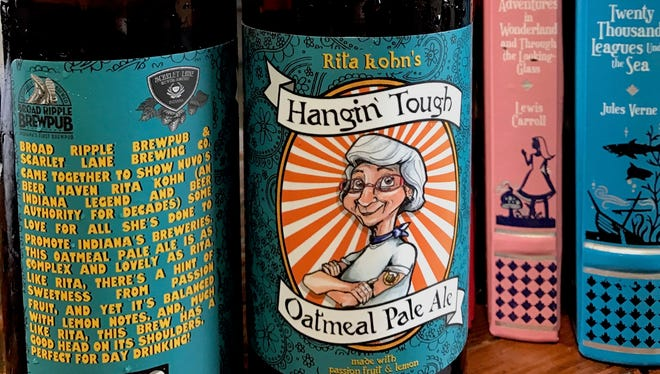 """""""Hangin' Tough"""" is a beer brewed by Scarlet Lane Brewing and Broad Ripple Brewpub in honor of Indiana craft beer legend Rita Kohn."""