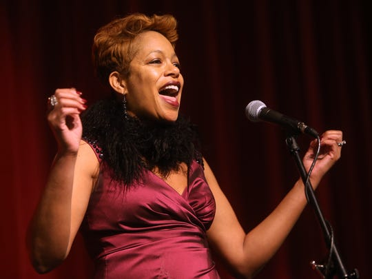 Keisha Johnson sings during Media Day at Morristown High School for finalists of the 10th Anniversary show of Morristown Onstage to be held at the Mayo Performing Arts Center.  January 7, 2017, Morristown, NJ.